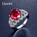 UMODE Vintage 5ct Round Cut Red Simulated Diamond Rings Rhodium Plated Ruby Jewelry for Women Anel Feminino UR0323
