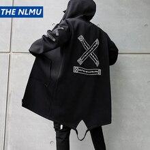Hip Hop Jackets Men Streetwear Outerwear Coats Long Jackets Casual Men 2019 Fashion Men Windbreaker Black Navy White HW039