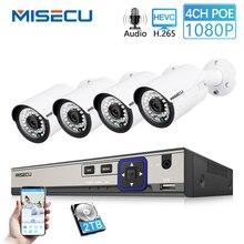 MISECU 4CH 1080 P POE NVR комплект 2.0MP видеонаблюдения системы 4 шт. аудио запись звука IP камера P2P открытый товары теле и