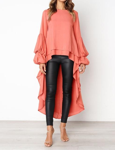 9d471dcde 2018 Autumn Trendy Irregular Long Tail Women Blouse Fashion Big Size Lady  Loose Ruffle Tops Lantern