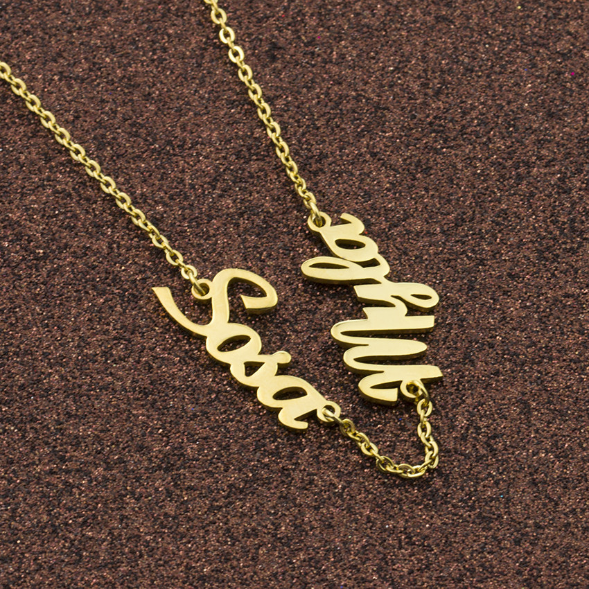 Colliers personnalisés or deux nom pendentif femmes collier bijoux personnalisé en acier inoxydable Choker meilleurs cadeaux Colar BFF