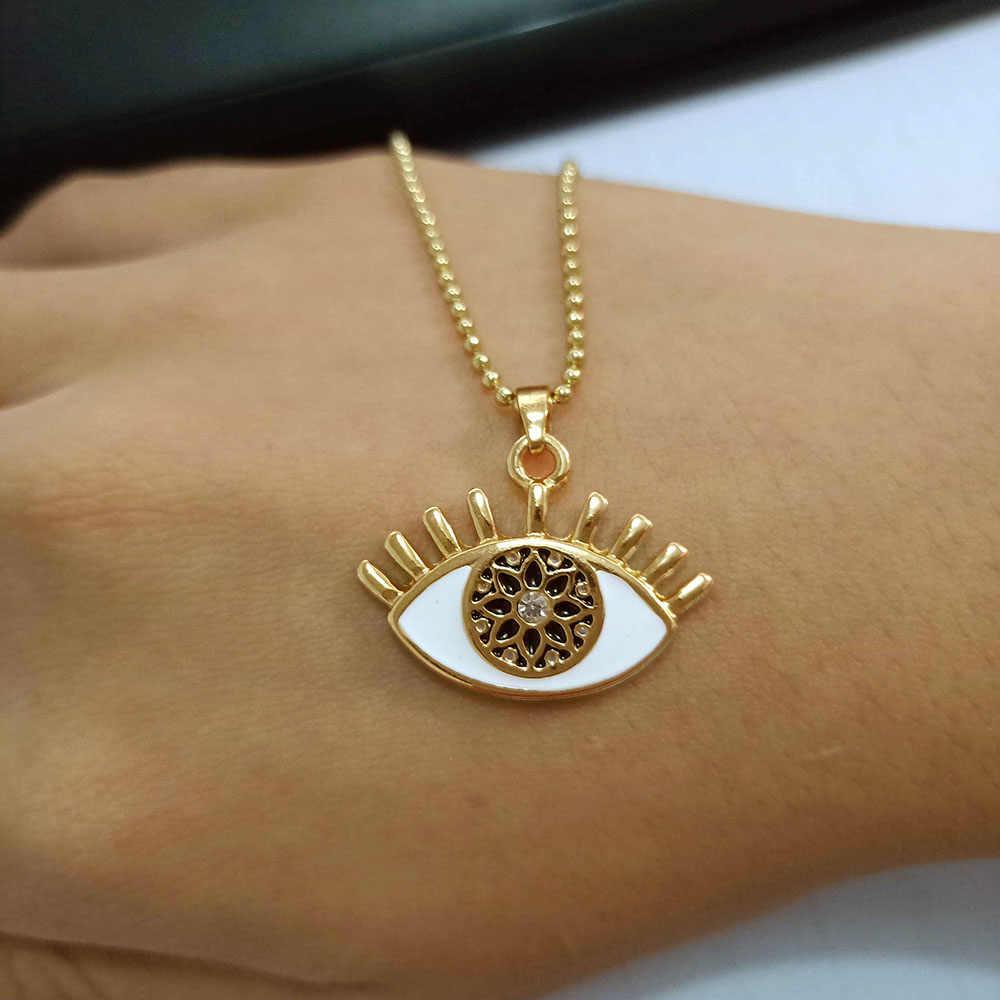 Bijoux nouvelle mode brillant yeux sculpture pendentif collier à la mode Simple or lien chaîne colliers femmes fille bijoux collier cadeau