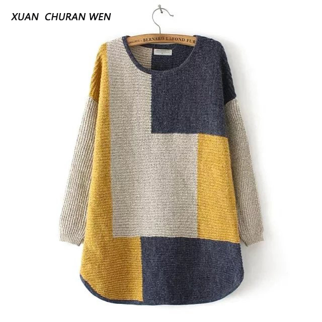 2XUANCHURANWEN 2017 Autumn Loose Plus Size Sweater Women Long Sleeve Patchwork Jumpers Warm Thicken Pullover Knitwear YY29