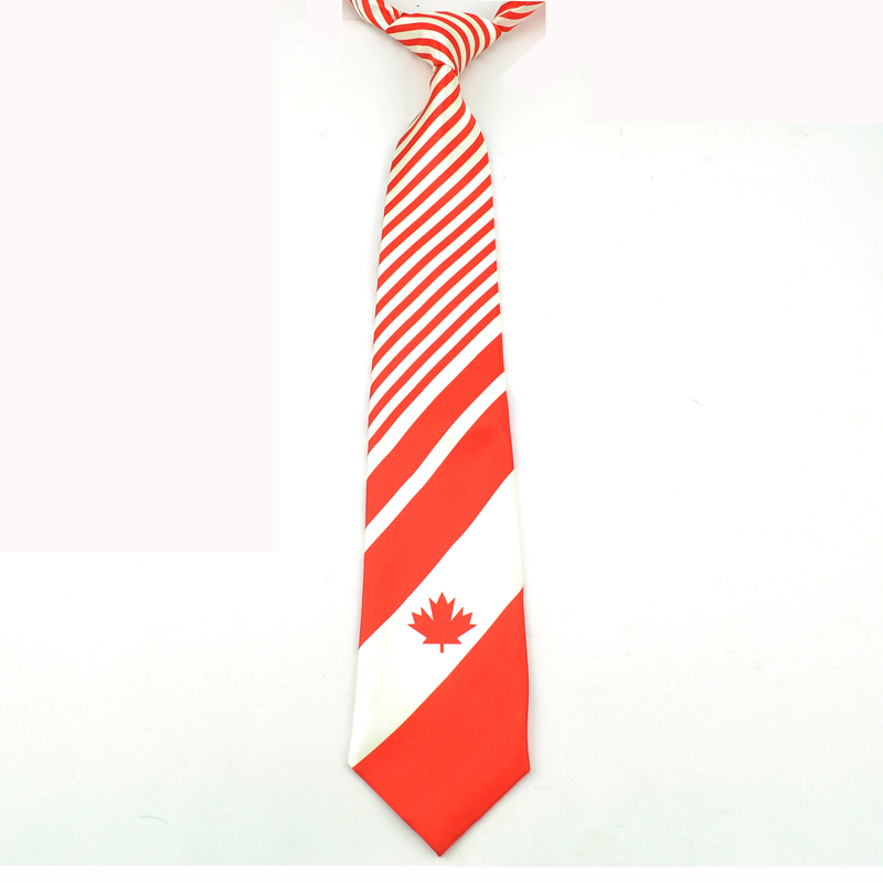 """Free Shipping-New 4 Inches Wide Fashion Red Neckties """"Canada Flag""""Design Polyester Woven Classic Men`s Wedding Party tie gravata"""