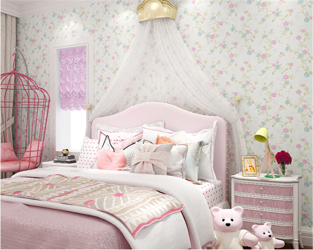 Beibehang Pure Non Woven Wallpaper Fresh Korean Style Small Floral Wall Paper Bedroom Living Room Children 's Room Papier Peint
