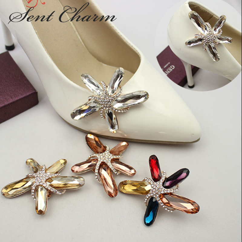 1Pair Colors Beach Starfish Star Rhinestone Crystal Shoe Clips Charms Decoration Free Shipping beach starfish 3d printing home wall hanging tapestry for decoration
