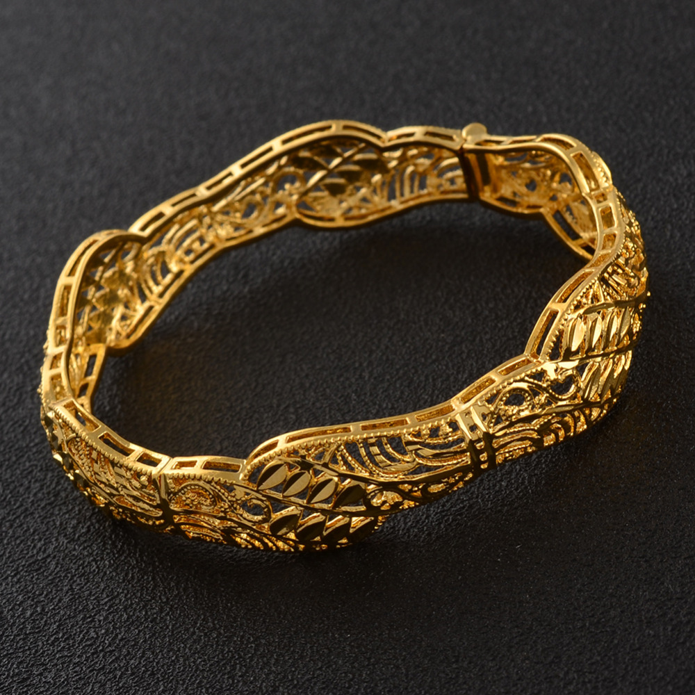 Gold Color Openable Bangles Bracelet for Women Dubai Middle East Arab African Wedding Jewelry Gifts #J1004