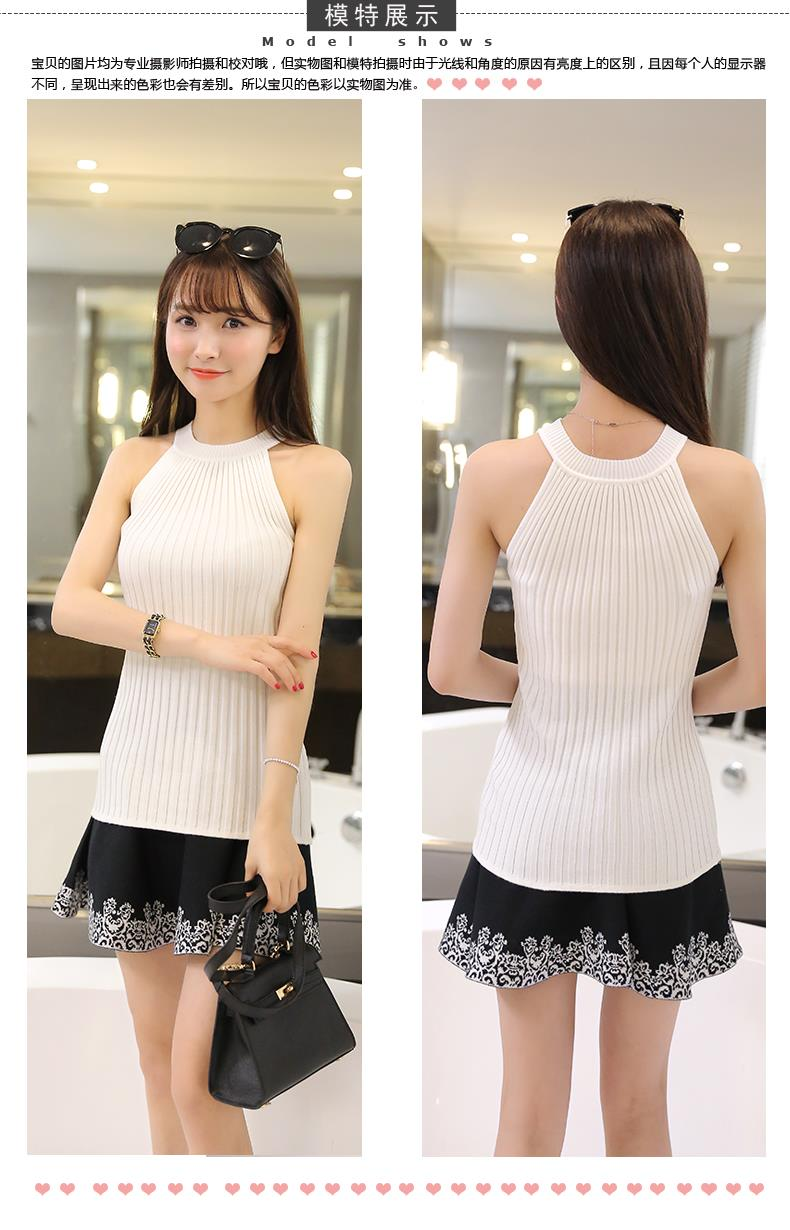 Women Spring Summer Sweater tanks sleeveless Knitted Camis Slim Halter Neck Sexy Strapless 13