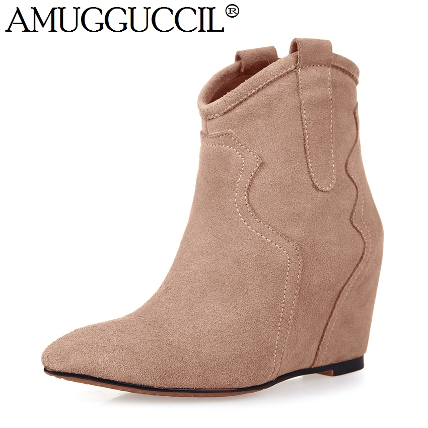 High Quality Cow Suede Black Apricot Fashion Sexy High Heel Height Increasing Wedges Autumn Spring Lady Girl Women Boots X636
