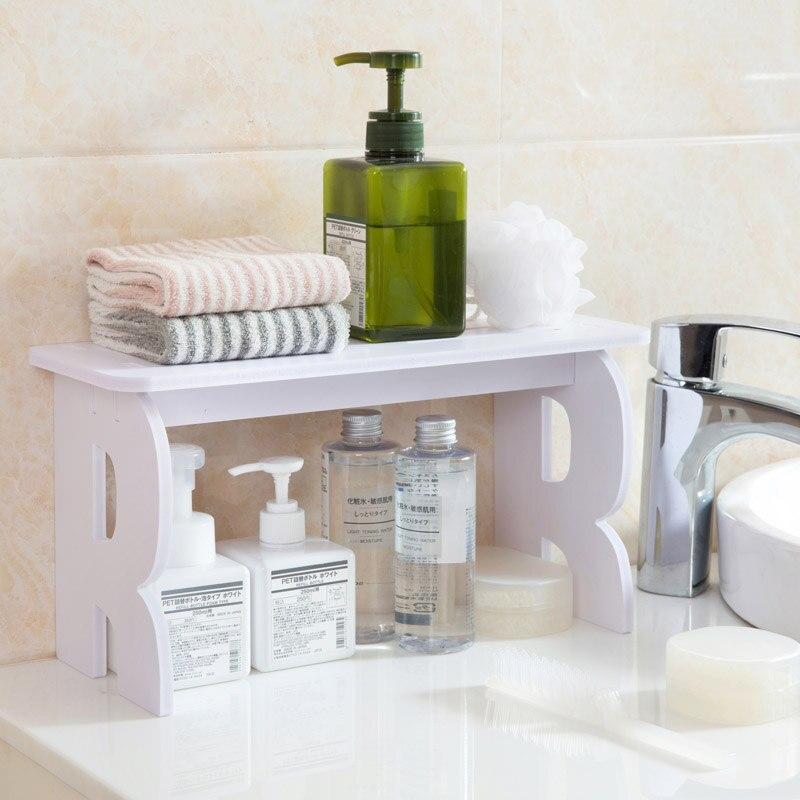 White wooden bathroom debris storage rack Desktop Makeup Organizer shelf bookshelf bathroom accessories home decor