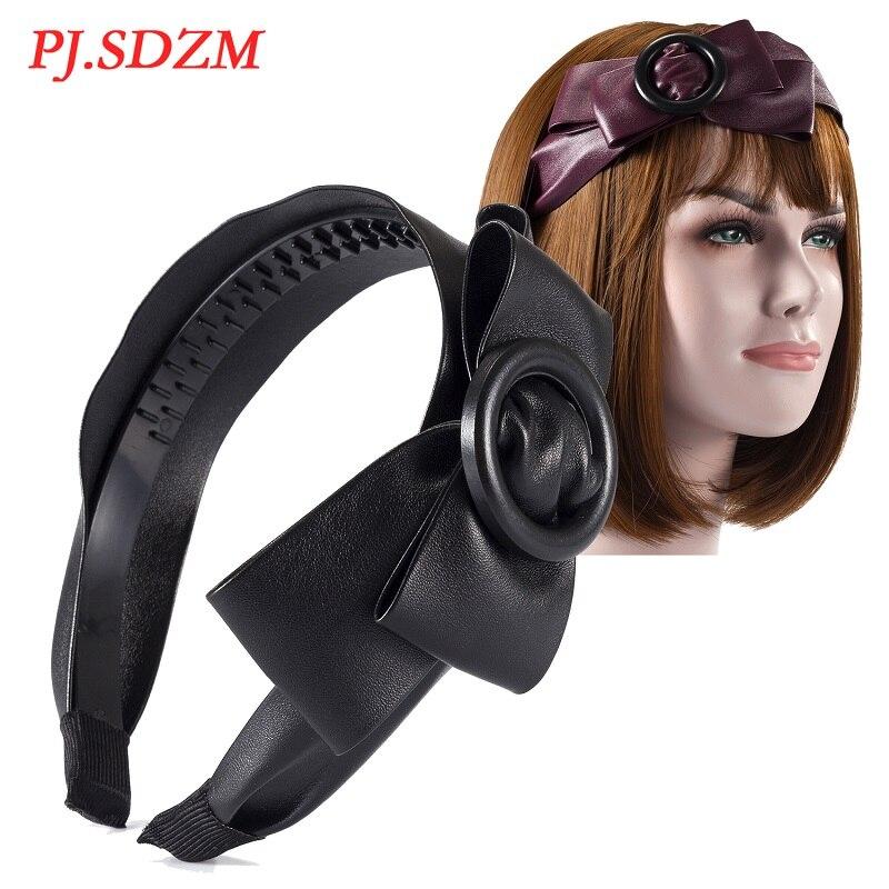 Mode Neue Slip-proof Frauen Haar Zubehör PU Süße Niedliche Haarband mit Zähne Mädchen Bowknot Kreis Hairwear Headhoop FS0032