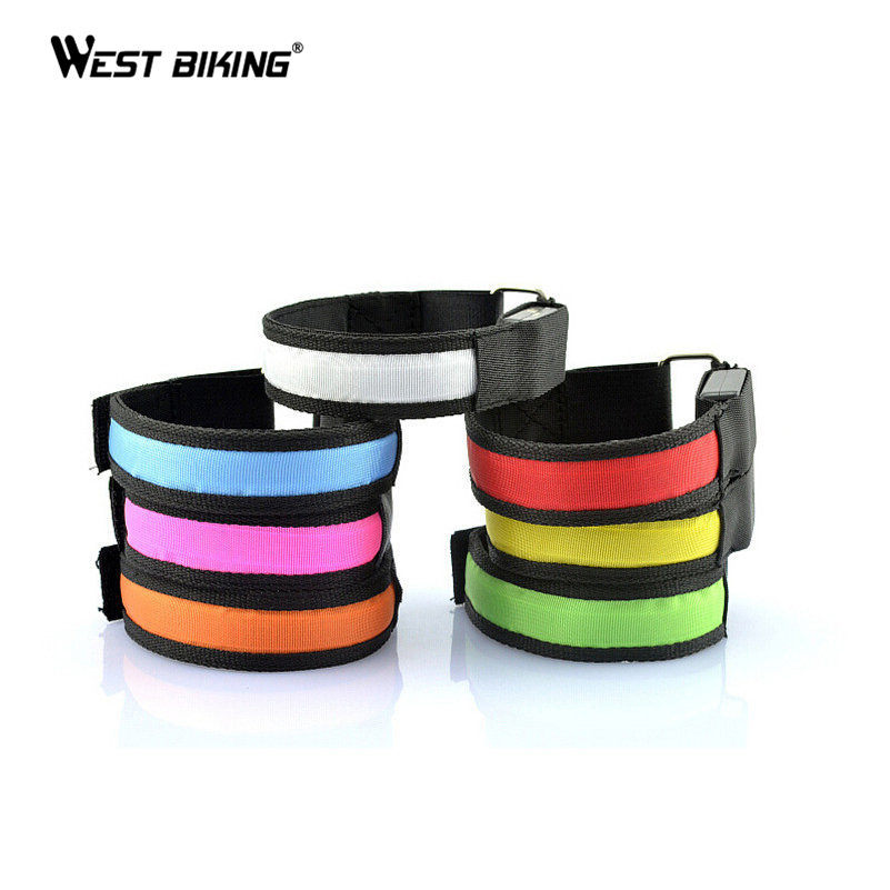 WEST BIKING Arm Strip LED Light Cycling Night Riding Warning Sport Bike Reflective Strips Arm Cycling Bicycle Safety Leg Strips