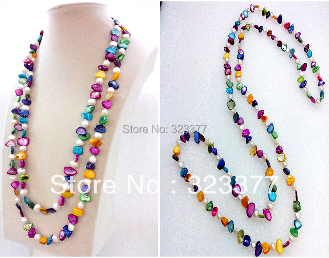 130CM Long Beautiful White Natural Freshwater Pearl And Multicolor Shell Beaded Sweater  Necklace!