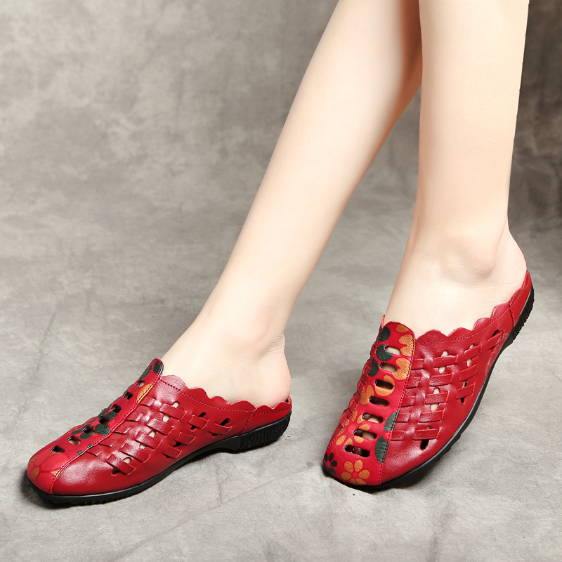 AARDIMI Summer Slipper Shoes Women Slides Retro Floral Slip On Hollow Women Flat Summer Slippers Genuine Leather Mother Shoes