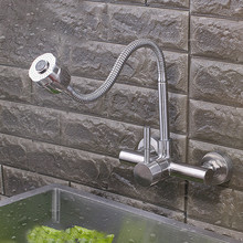304 rotating lead-free stainless steel wall mounted kitchen faucet mixer kitchen sink brushed nickel tap torneira cozinha KF250