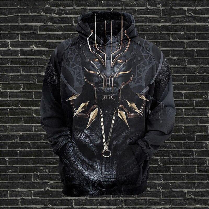 Movie Black Panther Cosplay 3D Print Jacket Hoodies Men/Women Hip Hop Pullover Hooded Sweatshirts Boys Casual Black Clothes