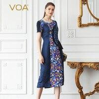 VOA шелк жаккард тонкий женские офисные работы платье миди Темно синие вентилятор печатных осень короткий рукав с круглым вырезом элегантны
