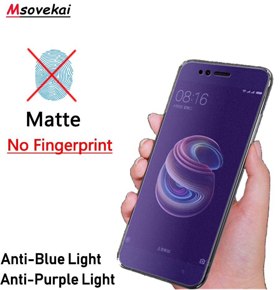 Anti Blue Purple Light Matte Tempered Glass For Xiaomi Redmi Note 7 8 6 5 Pro 5 Plus Mi 9T K20 Pro 5A 6A Y2 Y3 Screen Protector(China)