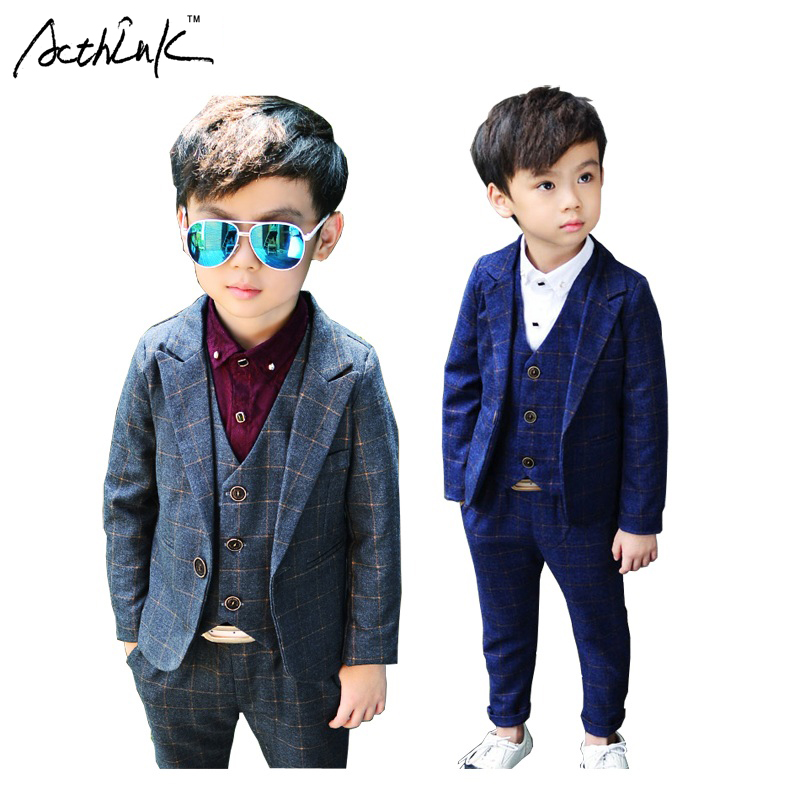 ActhInK 2017 Nya 3Pcs Boys Plaid Bröllopssuit Brand England Style Gentle Boys Formell Tuxedos Suit Kids Spring Clothing Set, C157