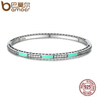 BAMOER Authentic 100 925 Sterling Silver Radiant Hearts Light Green Enamel Clear CZ Bangle Bracelet Luxury