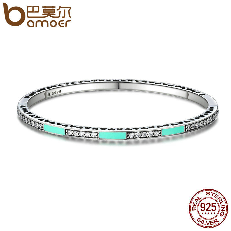 BAMOER Authentic 100% 925 Sterling Silver Radiant Hearts, Light Green Enamel & Clear CZ Bangle & Bracelet Luxury Jewelry SCB016 top quality bright mint enamel clear cz radiant hearts of pan bangle fit europe bracelet 925 sterling silver bead charm jewelry