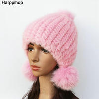 2017 Genuine real natural knitted Mink Fur Hat Cap women hand made Fashion Winter Headgear