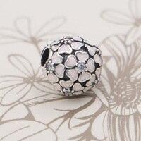 Top Quality Pink Enamel Cherry Blossom CZ Clip Lock Stopper Bead Charms Fit Pandora Bracelet 925