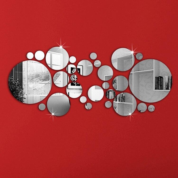 1 Set argent à pois miroir Stickers muraux maison chambre bureau décor décoration décalcomanies Pegatinas De Pared Adesivo De Parede