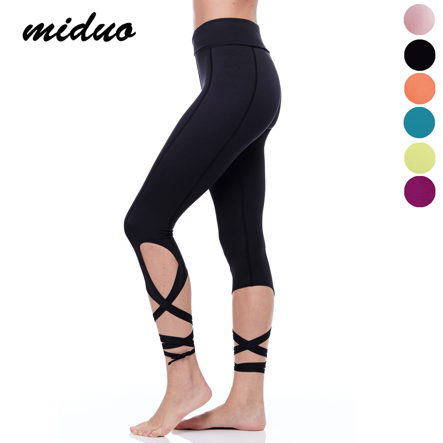 MIDUO Line of Sports and Fitness Clothing Color Band Ballet Dance Pants Female Yoga Pants