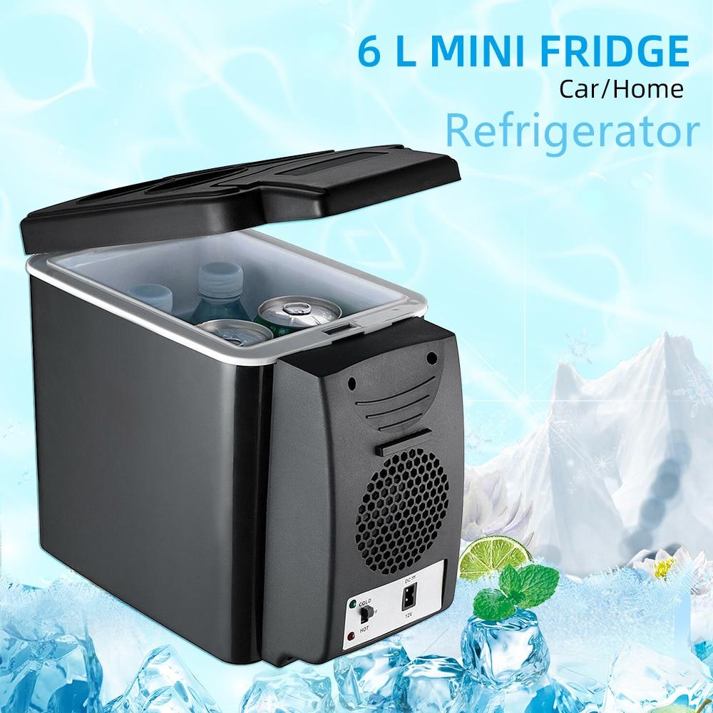Refrigerador de coche de doble uso de 12V y 6L con Control de temperatura multifuncional, Enfriador de caja portátil, calentador de latas de dormitorio, Enfriador de cerveza