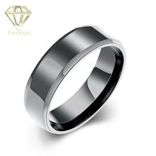 Estate Engagement Rings Classic Design Black Gun Plated Titanium Stainless Steel Smooth Surface Ring Romantic Jewelry for Men