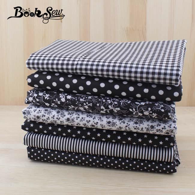 Kain katun Booksew 7pcs 50cmx50cm Tisu Tekstil Hitam untuk DIY Jahit kraf Tilda Doll tecido tulle tecidos tela patchwork