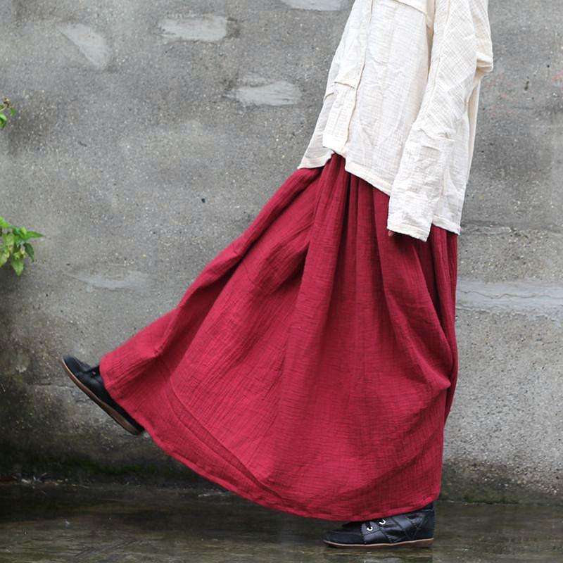 Aus Dem Ausland Importiert Johnature 2019 Frauen Röcke Neue Original Baumwolle Herbst Bodenlangen Plissee Feste Beiläufige Maxi Röcke Vintage Leinen Elastische Taille