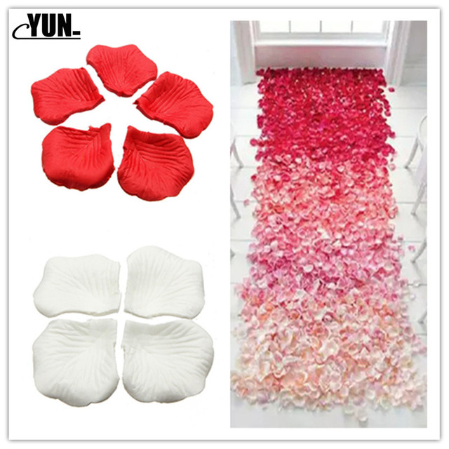 A. 1000Pcs Wholesale Wedding Rose Petals Decorations Flowers Polyester Wedding Rose New Fashion 6D