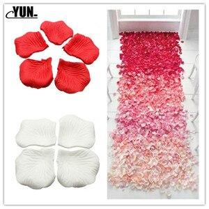 Image 1 - A. 1000Pcs matrimonio allingrosso petali di rosa decorazioni fiori poliestere matrimonio rosa nuova moda 6D