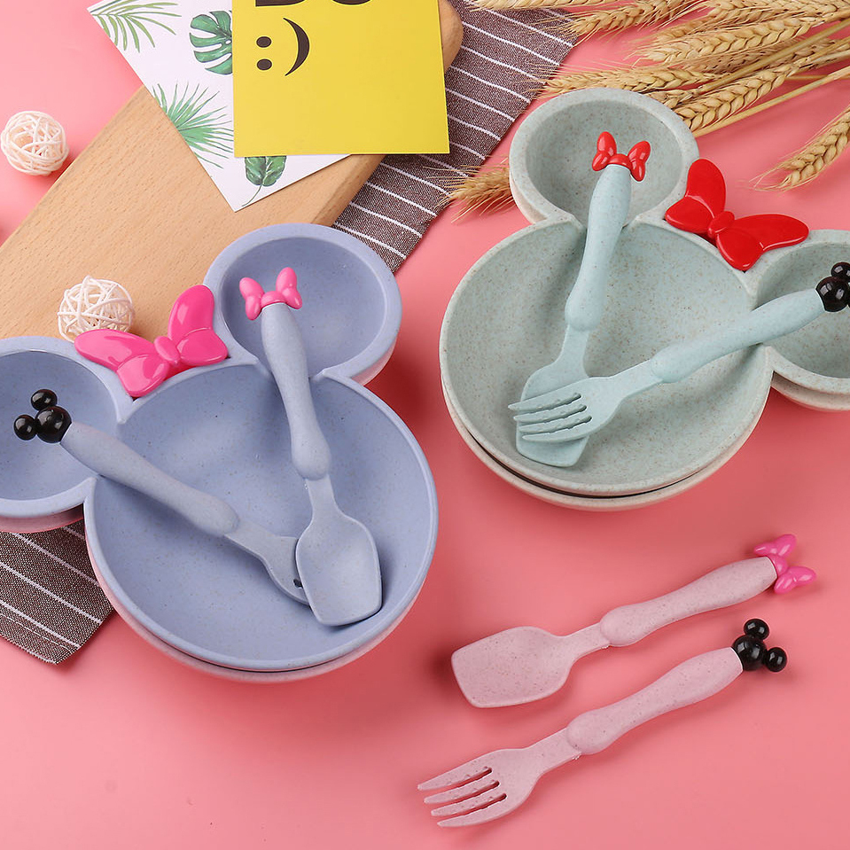Cute Colorful Cartoon Shape Dished Bowl Fork Child Dinner Set Food Grade Wheat Baby Kid Cutlery Lunch Tray Tableware Accessories