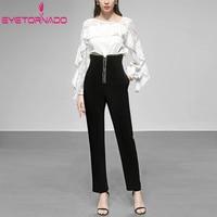Работа 2 шт брюки набор 2019 женщин оборками Добби с длинным рукавом блузка топ и карандаш брюки костюм наряд