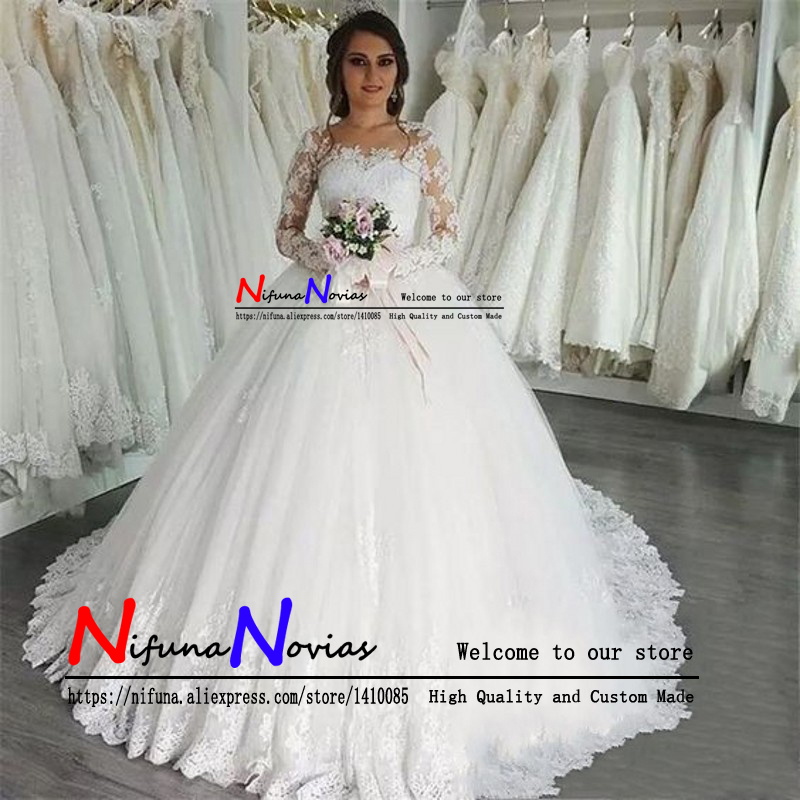 Vestidos De Noiva 2019 Elegant Ball Gown Long Sleeve Wedding Dress White Tulle Appliques Princess Lace