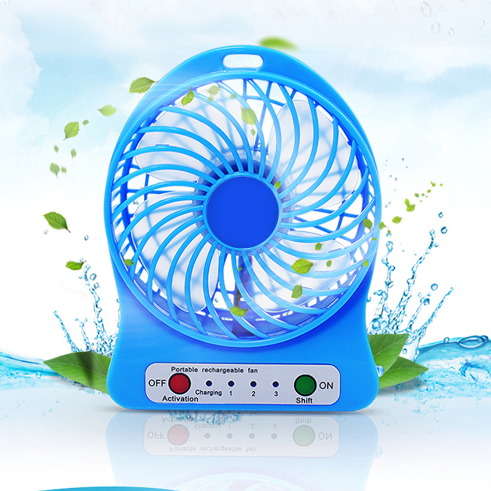 Portable Rechargeable LED Fan Air Cooler Mini Operated Desk USB Charging 3 Mode Speed Regulation LED Lighting Function
