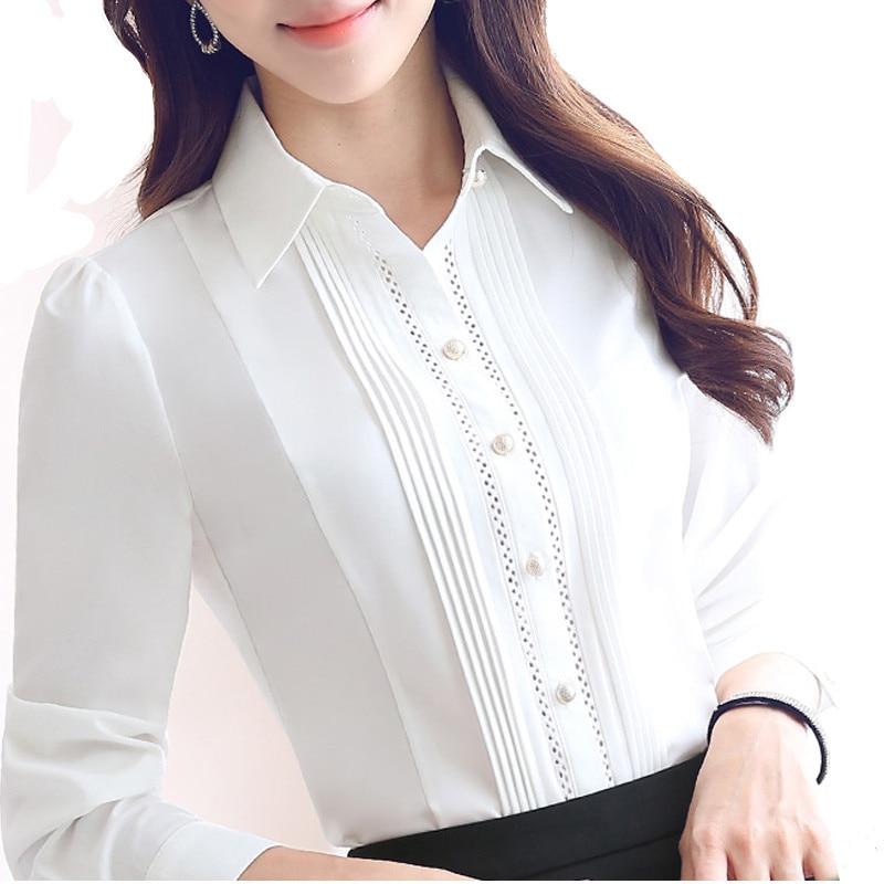 Lady White Long Sleeve Shirt Chiffon Blouse Button Down