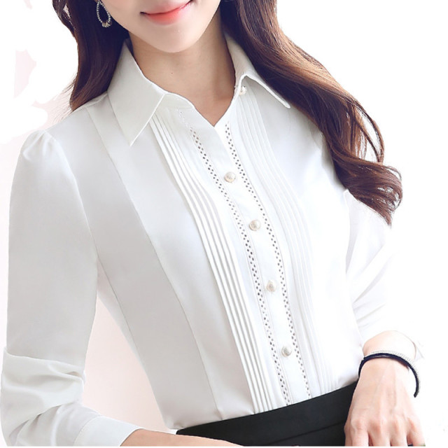 2fc25e6bf6 Lady White Long Sleeve Shirt Chiffon Blouse Button Down Women Business Work  Shirts Autumn Spring Plus Size Office Tops Femme
