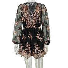Womens Summer Bohemian Glitter Sequins Playsuit Sheer Long Sleeves Floral Applique Loose Overall Shorts Deep V-Neck Ruched High цена в Москве и Питере