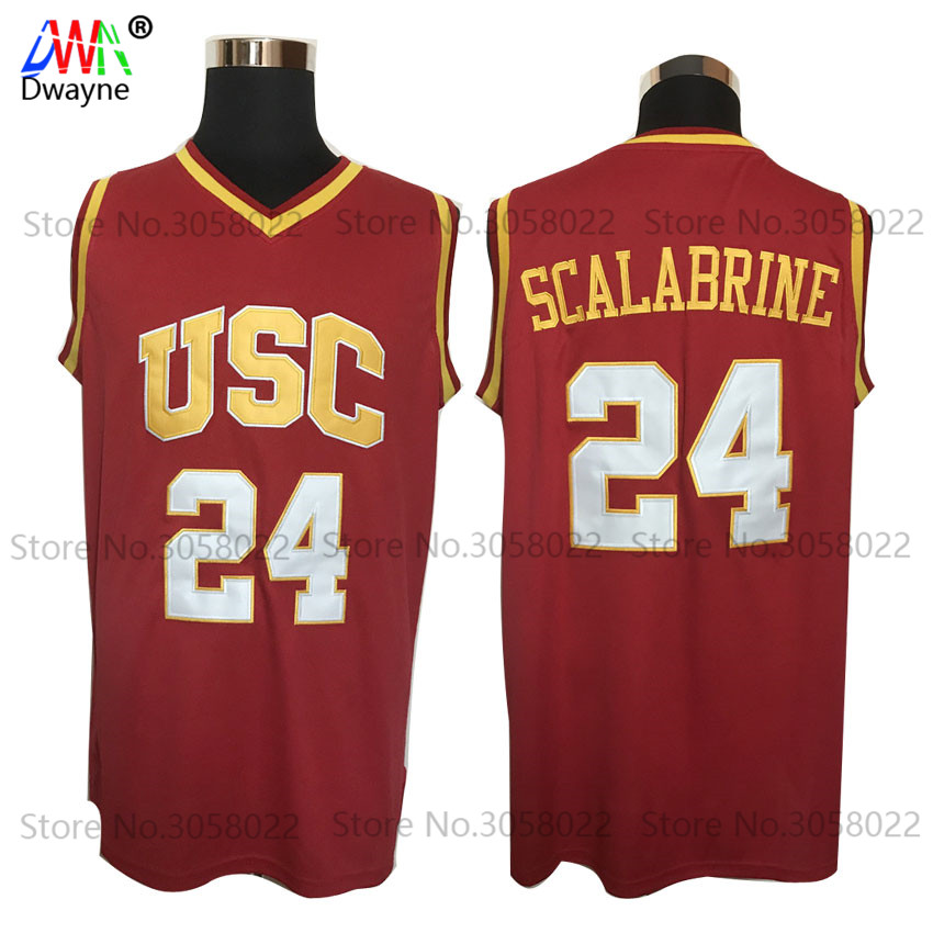 цена на 2017 Mens Dwayne Cheap Throwback Basketball Jersey Brian Scalabrine Jersey #24 USC Trojans College Vintage Basket Jerseys Red