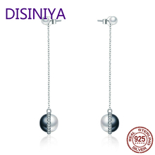DISINIYA  Unique Design 925 Sterling Silver Black & White Pearls Drop Earrings for Women Fine Jewelry Accessories Gift CQE305