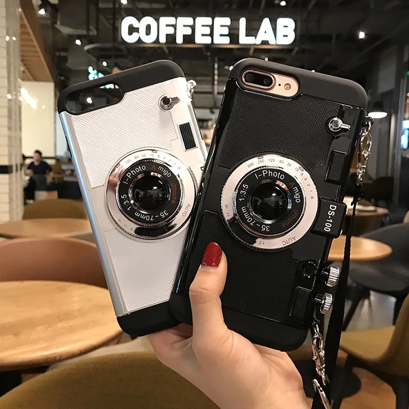 3D Retro Camera Phone Cases For iphone 8 plus Case with strap 6 7 8 plus X XR XS MAX With Lanyard Hard PC Shockproof Back Cover image