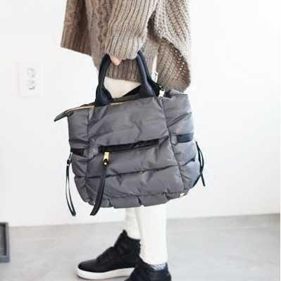 Pena de 2018 Para Baixo Acolchoado Lady Bolsas de Ombro Crossbody Bag Novo Espaço Bale Inverno Mulher Casual Totes Saco de Espaço de Algodão