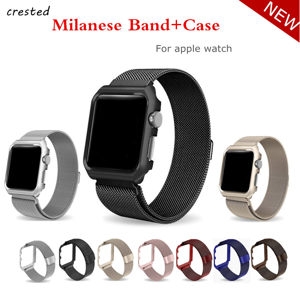 цены на Milanese Loop strap+case For Apple Watch band 42mm/38mm Link Bracelet Stainless Steel watchband for iwatch 3/2/1 wrist belt в интернет-магазинах