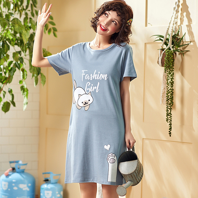 100% Cotton Women   Sleepshirts     Nightgowns   Cartoon Night Dress Fashion Girls Nighty Sleepwear Ladies Nightwear Summer Homewear