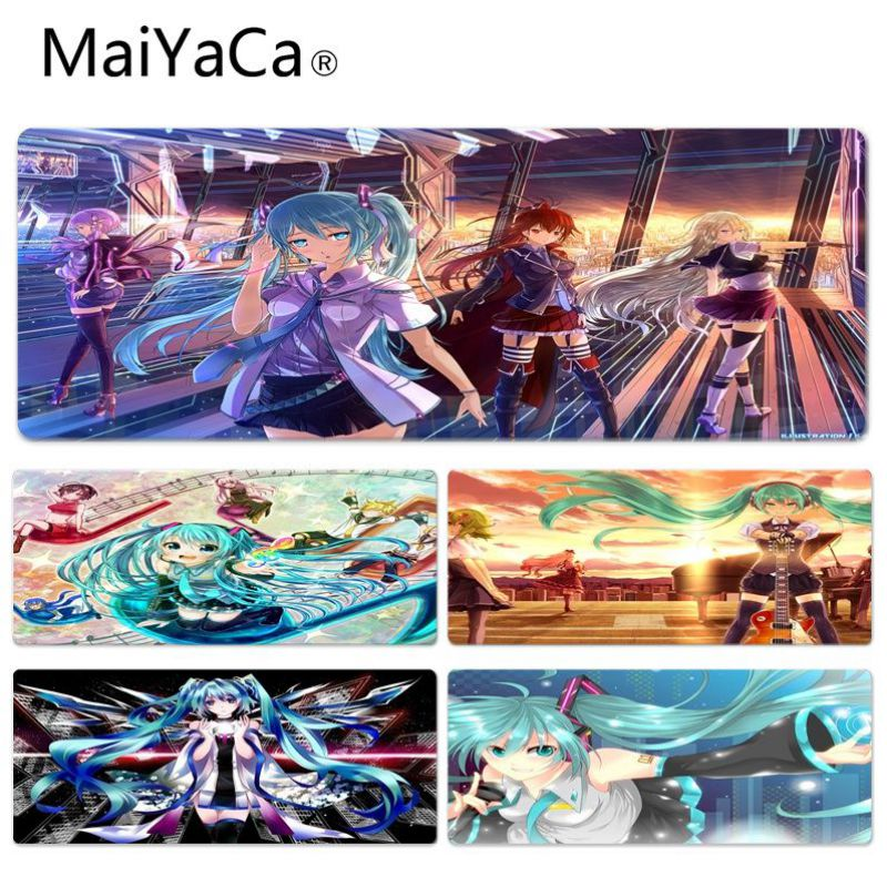MaiYaCa High Quality Hair Girls Anime Hatsune Miku Comfort Mouse Mat Gaming Rubber Cloth Lock Edge Gamer Mousepad Mat