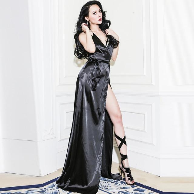 Le Palais Vintage 2017 Summer Y Pajamas Shape Dress Faux Silk Smooth Rayon Spaghetti Strap Backless
